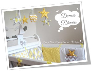 Déco chambre bébé thème « motifs géométriques en gris, jaune, blanc ...