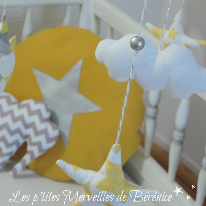 Déco chambre bébé thème « motifs géométriques en gris, jaune ...